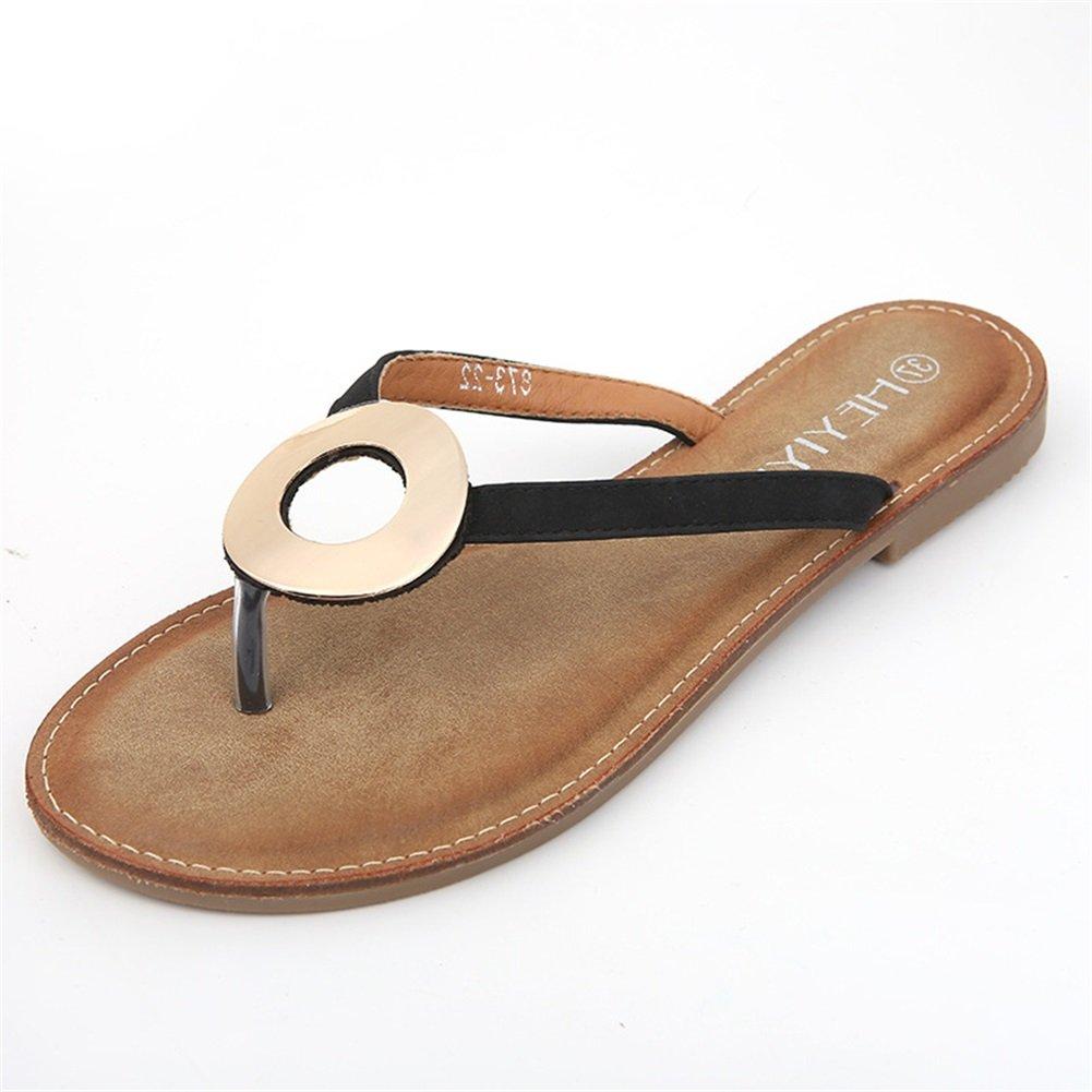 Damenschuhe New Spring Summer Comfort Ankle Strap Sandalen Einfache Rouml;mische Mode Sandalen Runde Ring Anti-Rutsch-Sandalen  41 EU|Ein