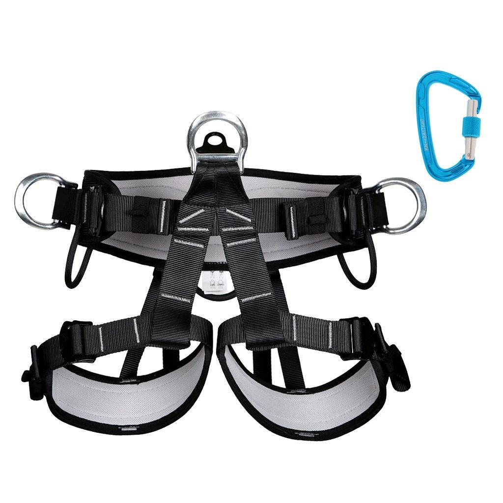Gazechimp Escalada Arnés Cinturón de Seguridad + Gancho de Escalada Antideslizante Seguro Deporte a Aire Libre Protección de Ingeniería Exploración Rapel: ...