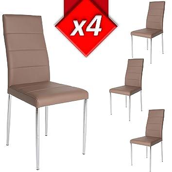 VS Venta-stock Pack 4 sillas tapizadas de salón Toronto Color Taupe ...