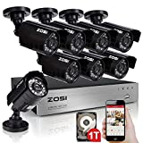 ZOSI Surveillance Camera Kit with 8-Channel 720p AHD H.264 HDMI DVR and 8x 1280TVL Indoor/Outdoor IR Weatherproof 20m night vision Security Cameras 1TB Hard Drive -65feet Night Vision with IR Cut 3.6mm lens