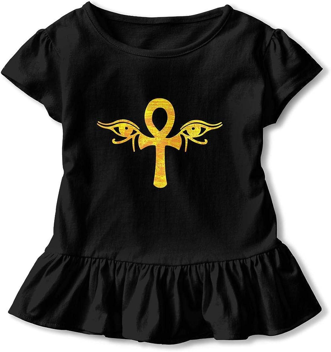 Cheng Jian Bo Ankh Eyes of Horus Egyptian Toddler Girls T Shirt Kids Cotton Short Sleeve Ruffle Tee