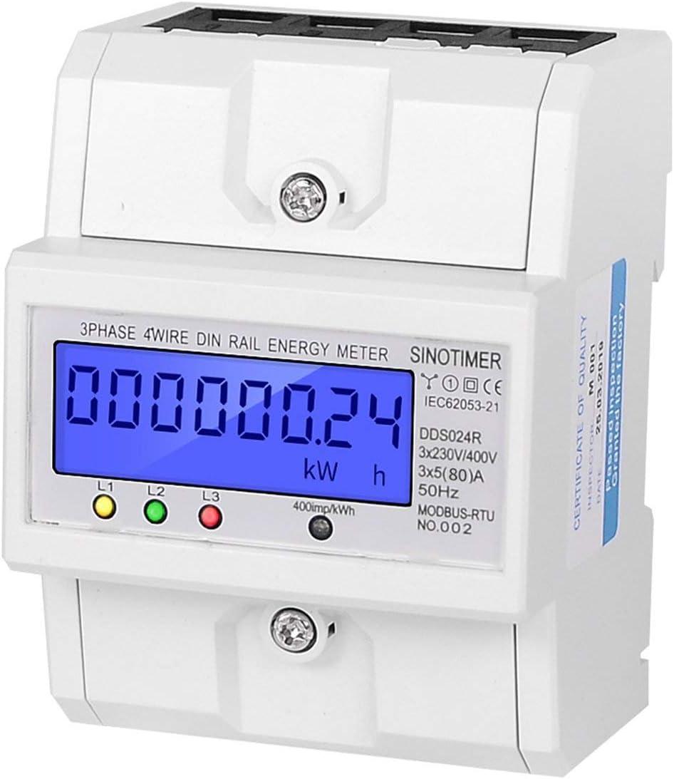Blanc SINOTIMER DDS024R RS485 Modbus Rtu Rail DIN triphas/é 4P Consommation /électrique Compteur d/énergie avec r/étro/éclairage LCD
