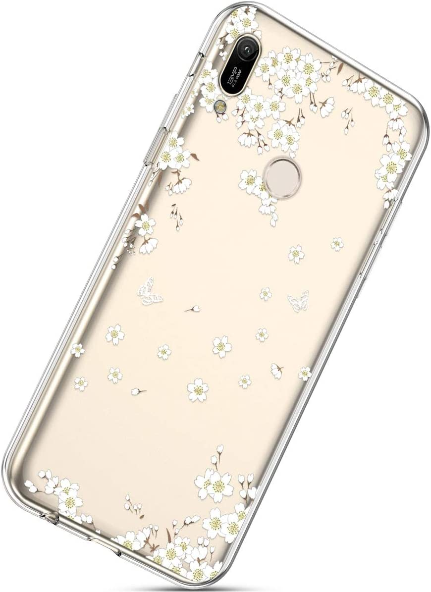 Herbests Compatible with Huawei Y6 2019 Flower Case Girls Men Clear Design Thin Slim Fit Soft Flexible Crystal Transparent Silicone Rubber TPU Back Cover,Pink Flamingo