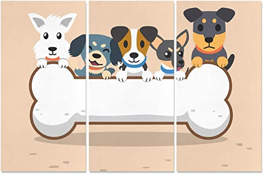 Amazon Com Jnseff 3 Panel Canvas Prints For Kids Cartoon Dogs Big Bone Sign Painting Walls Office Wall Art Wall Art Modern For Home Living Room Bedroom Bathroom Wall Decor Posters Posters