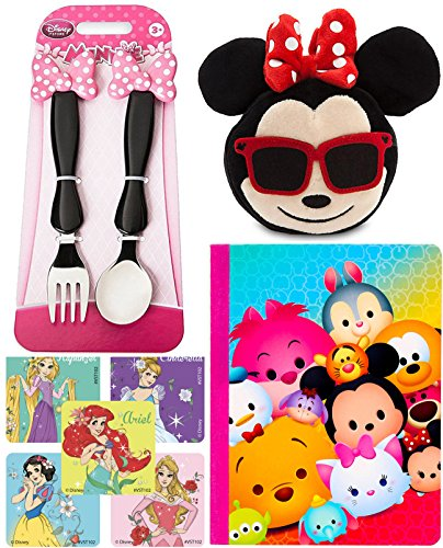 Disney Plush Emoji Minnie Mouse Sunglasses & Smiling Face + Pink Fork & Spoon Pink Bow Flatware Set + Tsum Tsum Notebook & Character - Smiling Face With Sunglasses