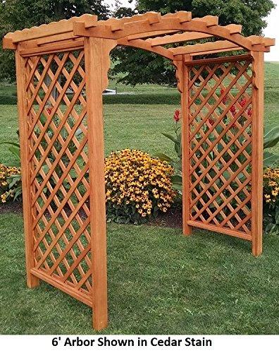 (Backyard Crafts Amish-Made Jamesport Style Pine Arbor - 5' Wide Walkthrough, Cedar Stain)