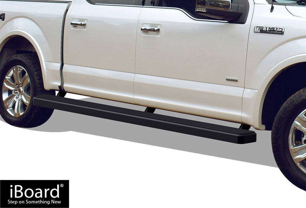 APS iBoard (Black Powder Coated 5 inches Wheet to Wheel) Running Boards | Nerf Bars | Side Steps for 2015-2019 Ford F150 SuperCrew Cab 5.5ft Bed Pickup 4-Door / 2017-2019 Ford F-250/F-350 Super Duty