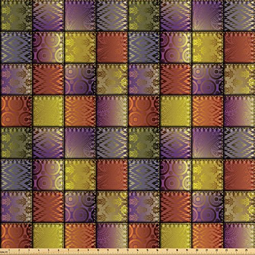 Woven Polyester 108' Round Tablecloth - Ambesonne Fabric Fabric by the Yard, Stitch-Like Digital Mix Motif with Inner Triangle Round Shapes Image, Decorative Fabric for Upholstery and Home Accents, Purple Gold and Cinnamon