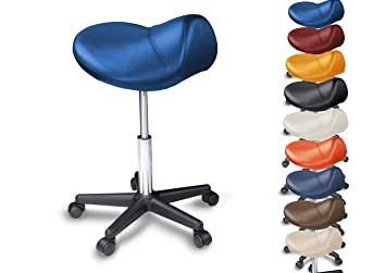 Saddle Stool On Wheels For All Floors, Ergonomic, Height Adjustable With  Gas Lift,