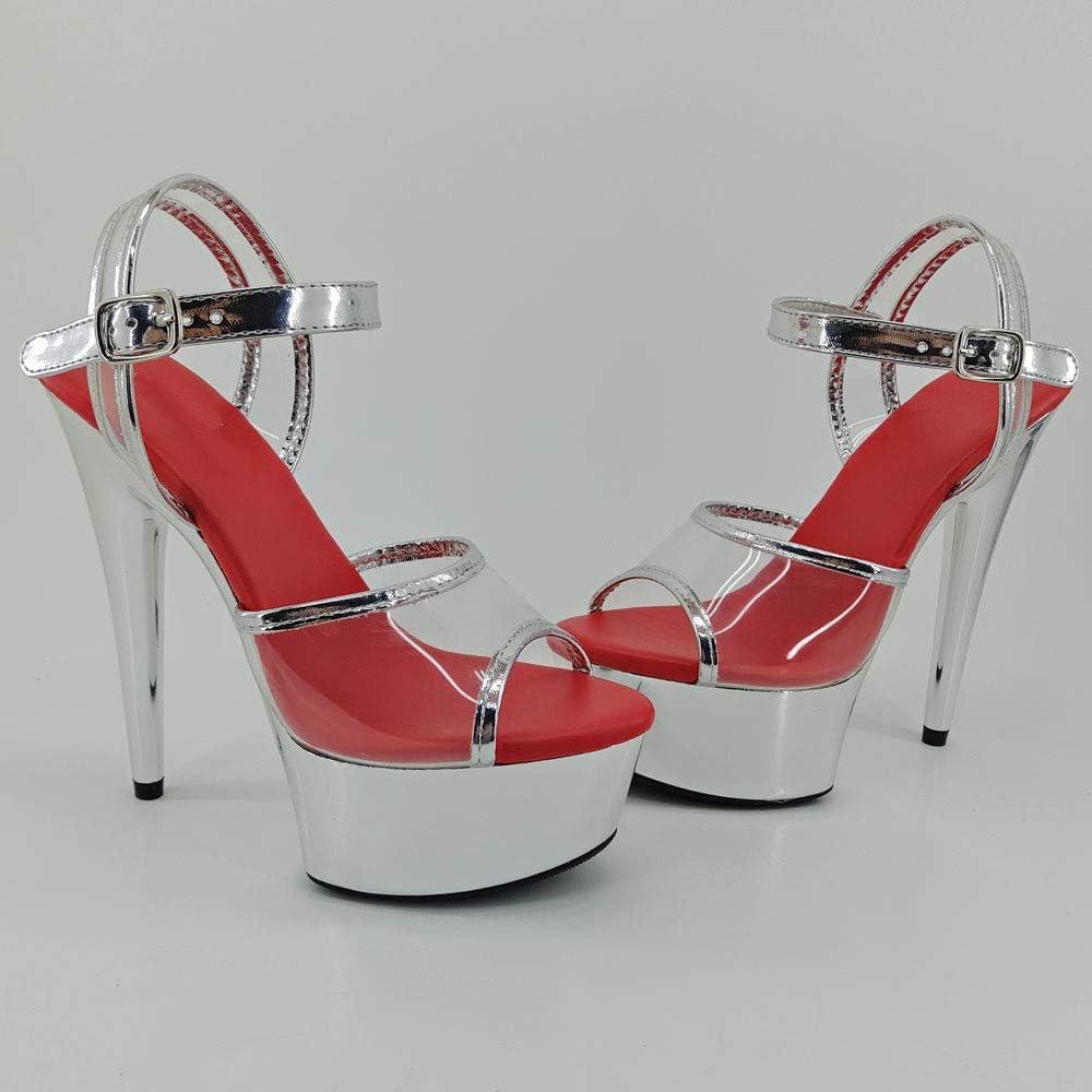15 cm Leecabe Pole Dance Schuhe durchsichtiges PU-Obermaterial mit transparenter Plateauplatte