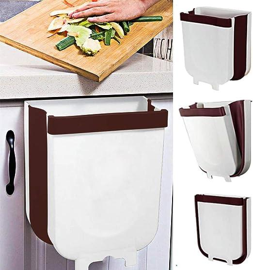8L Wall Mounted Folding Waste Bin Kitchen Cabinet Door Hanging Trash Can Bin