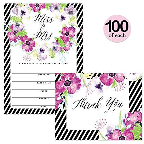 Bridal Shower Invitations & Matching Thank You Notes ( 100 of Each ) Set with Envelopes, Miss to Mrs Bride's Party Large Celebration 5 x 7'' Fill-in Invites & Folded Thank You Cards Best Value Pair by Digibuddha