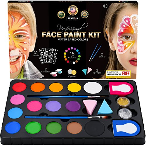 Professional Face Paint Kit for Kids - 15 Vibrant Body Paint Water Based Colors, 2 Glitters, 30 Stencils, 2 Haircolor, 2 Brushes, 2 Sponges - Great Face Paints with 15 Fun Face Painting Ideas Book -