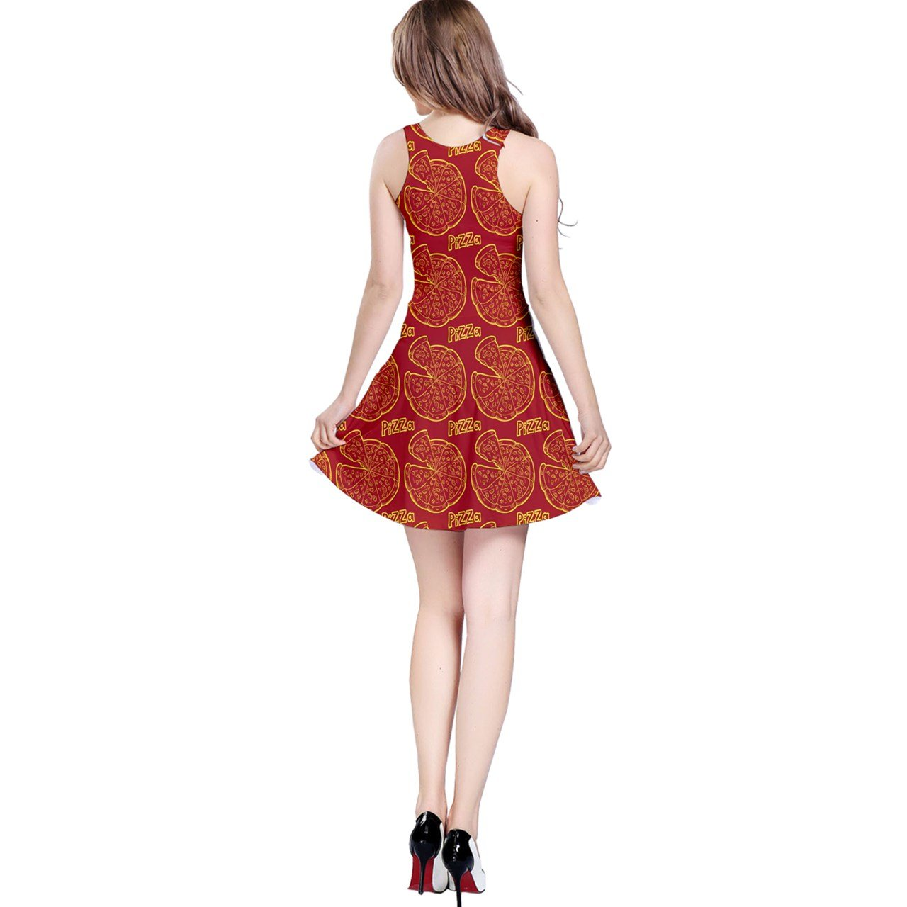 5197febd6c CowCow Womens Red Pizza Design Sleeveless Skater Dress at Amazon Women s  Clothing store