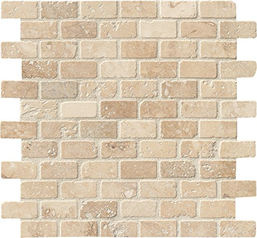 M S International Tuscany Beige Brick 12 In. X 12 In. X 10 mm Tumbled Travertine Mesh-Mounted Mosaic Tile, (10 sq. ft, 10 pieces per (Cream Mosaic Tiles)
