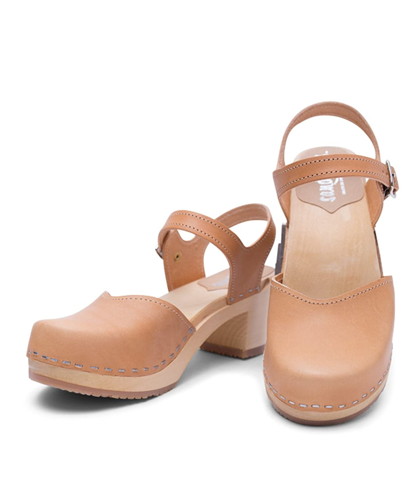 Sandgrens Swedish Wooden High Heel Clog Sandals - 2