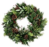 Custom & Unique (30'' Inch) 1 Single Large Size Decorative Holiday Wreath for Door w/ Artificial Winter Christmas Festive Flocked Tree Berries, Branches, Leaves, & Pine Cones Style (Red, Brown & Green)