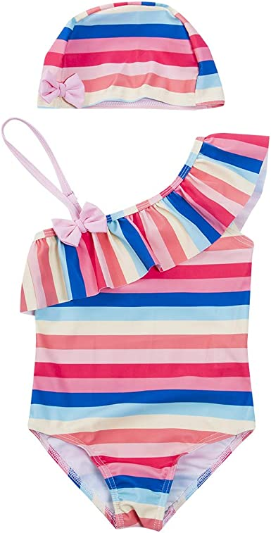 KASSD Swimsuit for Girls Floral Print One Piece Swimsuit Beach Bathing Clothing