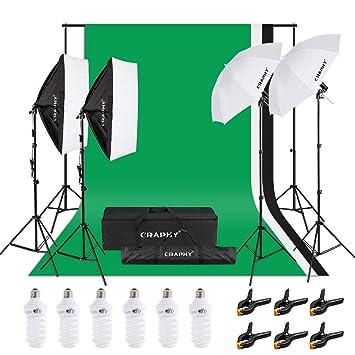 CRAPHY Kit de iluminación Profesional con Softbox y Paraguas para Estudio de Fotografía y Vídeo, Fondo con Soporte (Blanco, Negro y Verde) 3m x 2,6m y ...