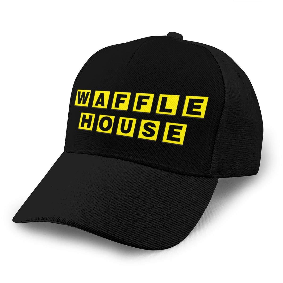 Adjustable Women Men Waffle-House-Logo Print Baseball Cap Flat Brim Cap Hats Hip Hop Snapback Sun Hat Boys Girls Black by Apolonia