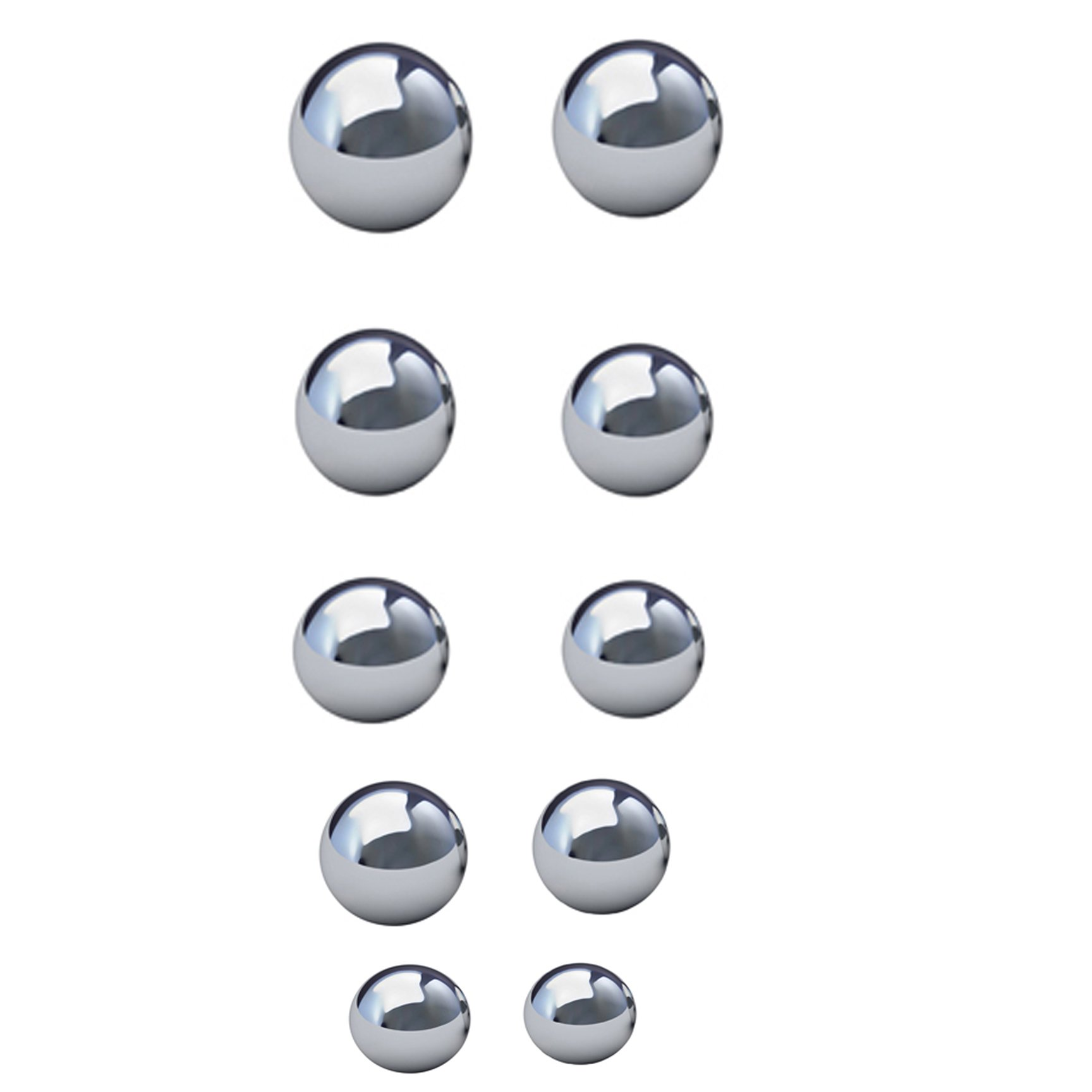 Assorted Coin Ring Making Steel Balls - Set of 10 Balls from1-1/16 to 5/8