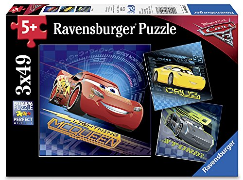 Ravensburger Disney Cars 3 3 X 49 Piece Jigsaw Puzzle for Kids - Every Piece is Unique, Pieces Fit Together ()
