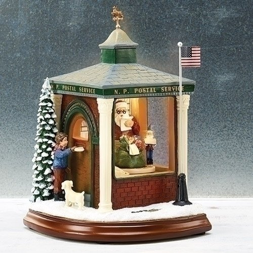 Amusements Animated Post Office Building Musical LED Light Up Christmas Figurine