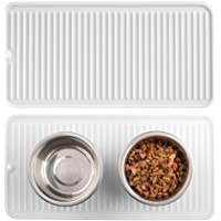 mDesign Premium Quality Pet Food and Water Bowl Feeding Mat for Cats and Kittens - Waterproof Non-Slip Durable Silicone Placemat - Food Safe, Non-Toxic - Pack of 2, Clear
