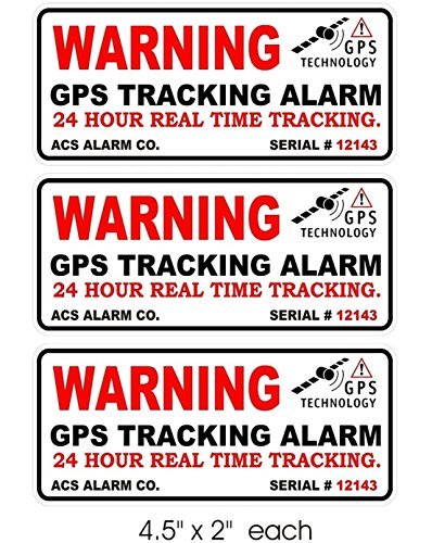 3 Pcs Peerless Popular Outside Warning GPS Tracking Alarm Sticker Signs Boat Decals Windows Video Recording Size 4.5