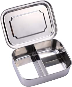 Sumerflos All Stainless Steel Bento Box, 1200ML/40OZ Lunch Food Containers, Perfect for Adults and Kids School, Office, On-the-Go Meal and Snack, Eco-Friendly, Dishwasher Safe (3 Compartment)