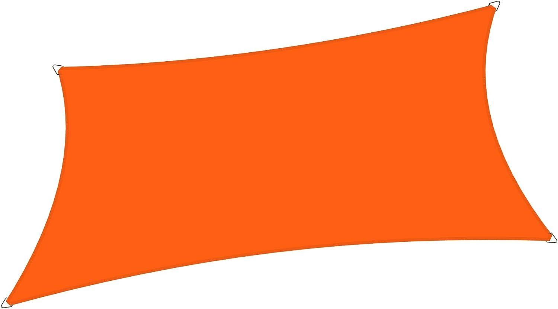 Alion Home 10' x 10' Waterproof Woven Sun Shade Sail in Vibrant Colors (Tangerine Orange)