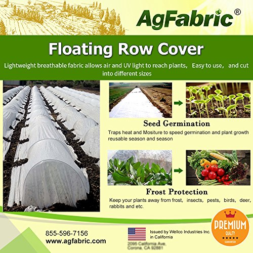 Agfabric Heavy Floating Row Cover and Plant Blanket, 0.9oz Fabric of 7x50ft for Frost Protection and Terrible Weather Resistant