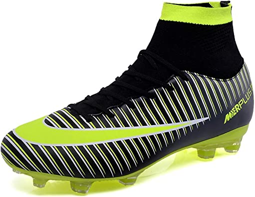 Men Soccer Shoes Turf Football Boots Lace-Up Cleats Indoor Outdoor Sneakers