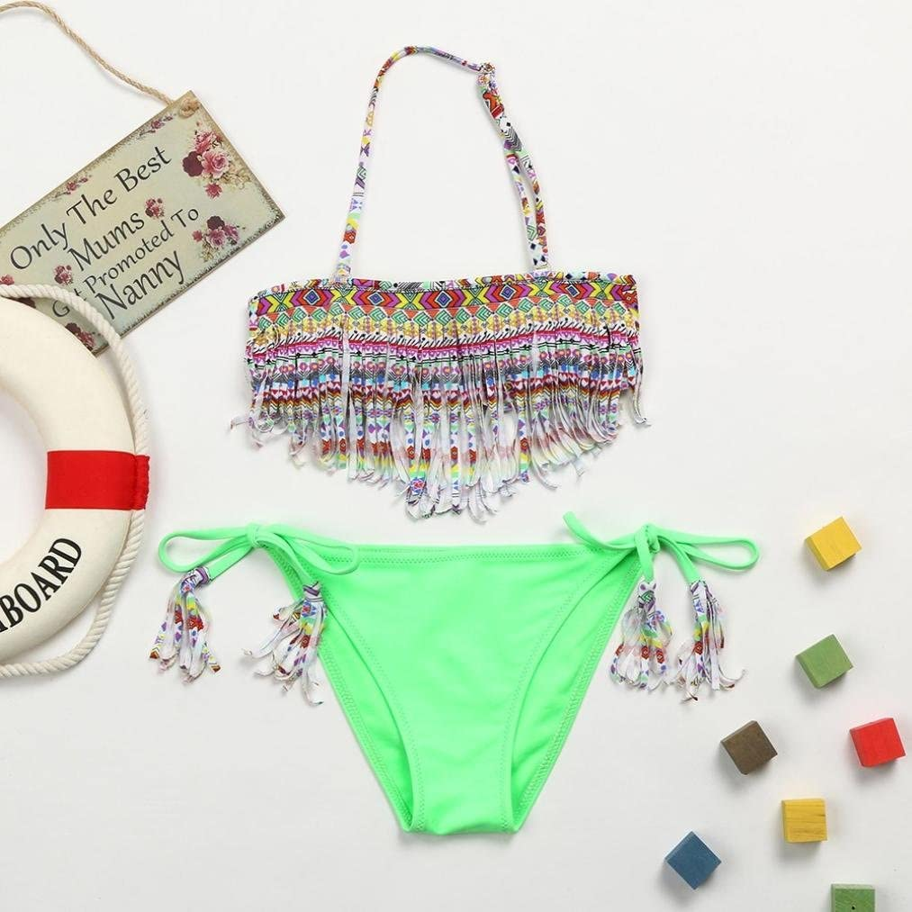 Vincent/&July 2Pcs Infant Kid Girls Totem Geometric Tassel Swimwear Swimsuit Tope+Bikini Shorts Outfits