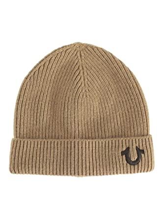 ecd581e25e2 Amazon.com  True Religion Men s Ribbed Knit Wheat Brown Beanie Cap Hat (One  Size Fits Most)  Clothing