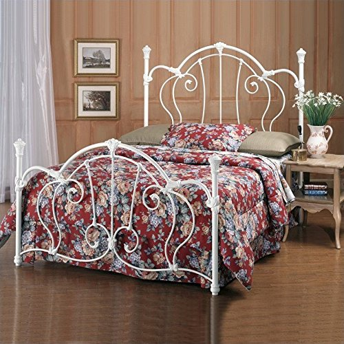 (Hillsdale Furniture 381BFR Cherie Bed Set with Rails, Full, Ivory)