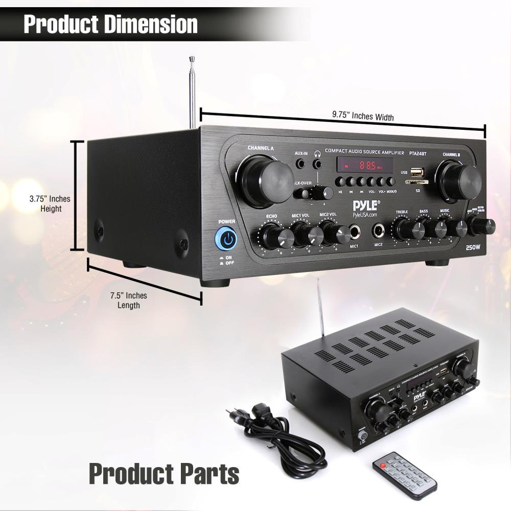 Pyle Upgraded Karaoke Bluetooth Channel Home Audio Sound Adresses Of Integrated Circuits Power Amplifiers Manufacturers Amplifier W Aux In Usb 2 Microphone Input Echo Talkover For Pa