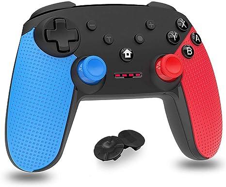 Mando para Nintendo Switch, Bluetooth inalámbrico Controller Switch Pro Support Gyro Axis, Turbo y Dual Vibration Switch Joystick con Cable de Carga Tipo C para Nintendo & PC Azul y Rojo (Negro):