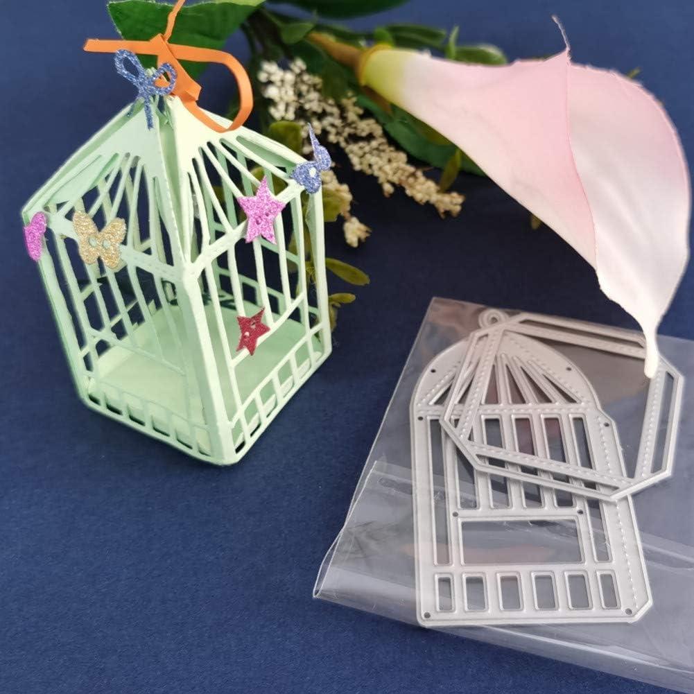 WBSNA Hermosa combinación de Jaula para pájaros y Jaula para Mascotas Corte de Metal Estampación de Troqueles Bandeja de procesamiento de Papel Plantilla de álbum de Fotos Bricolaje