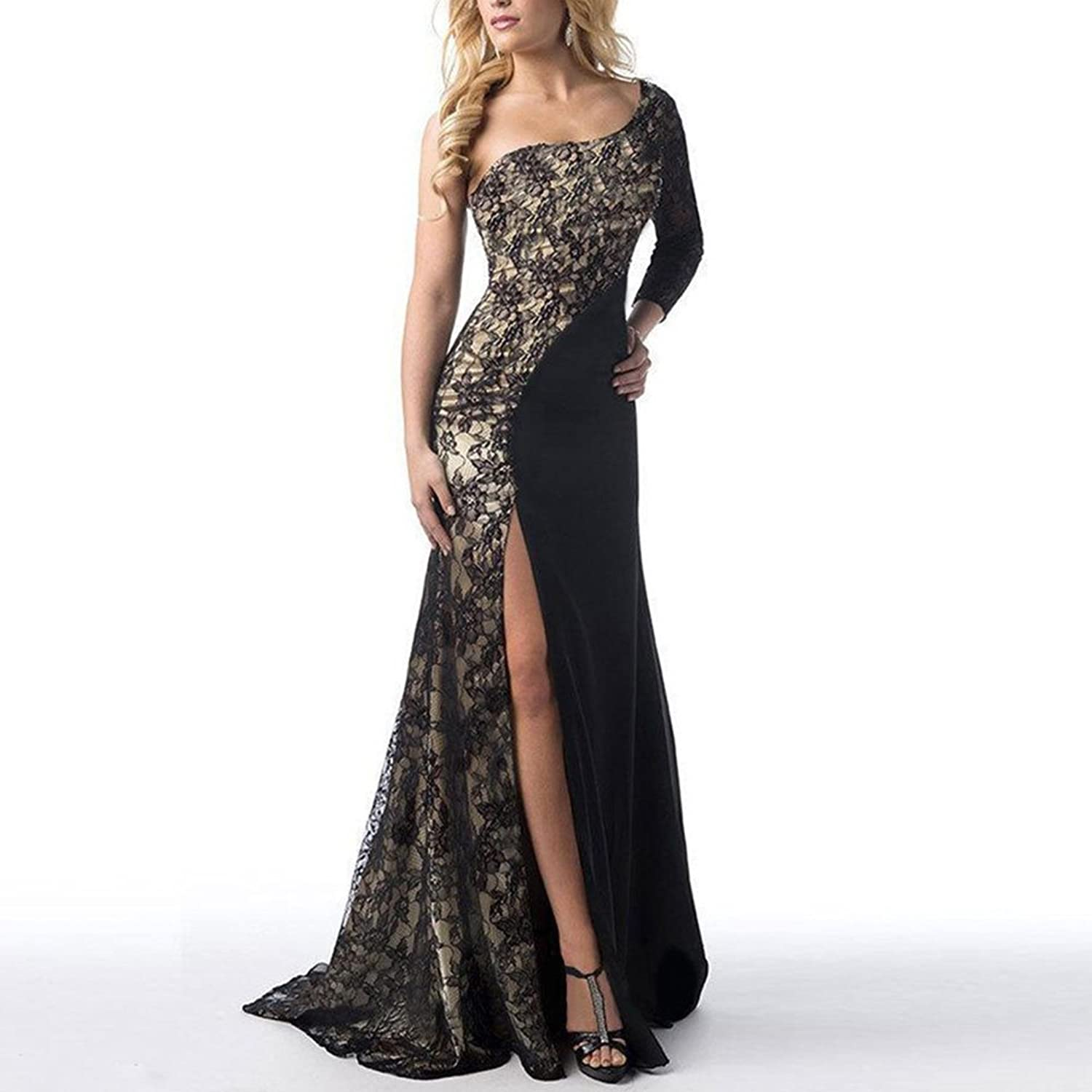 Womens One Shoulder Side Split Long Lace Maxi Wedding Bridesmaid Evening Cocktail Party Dress