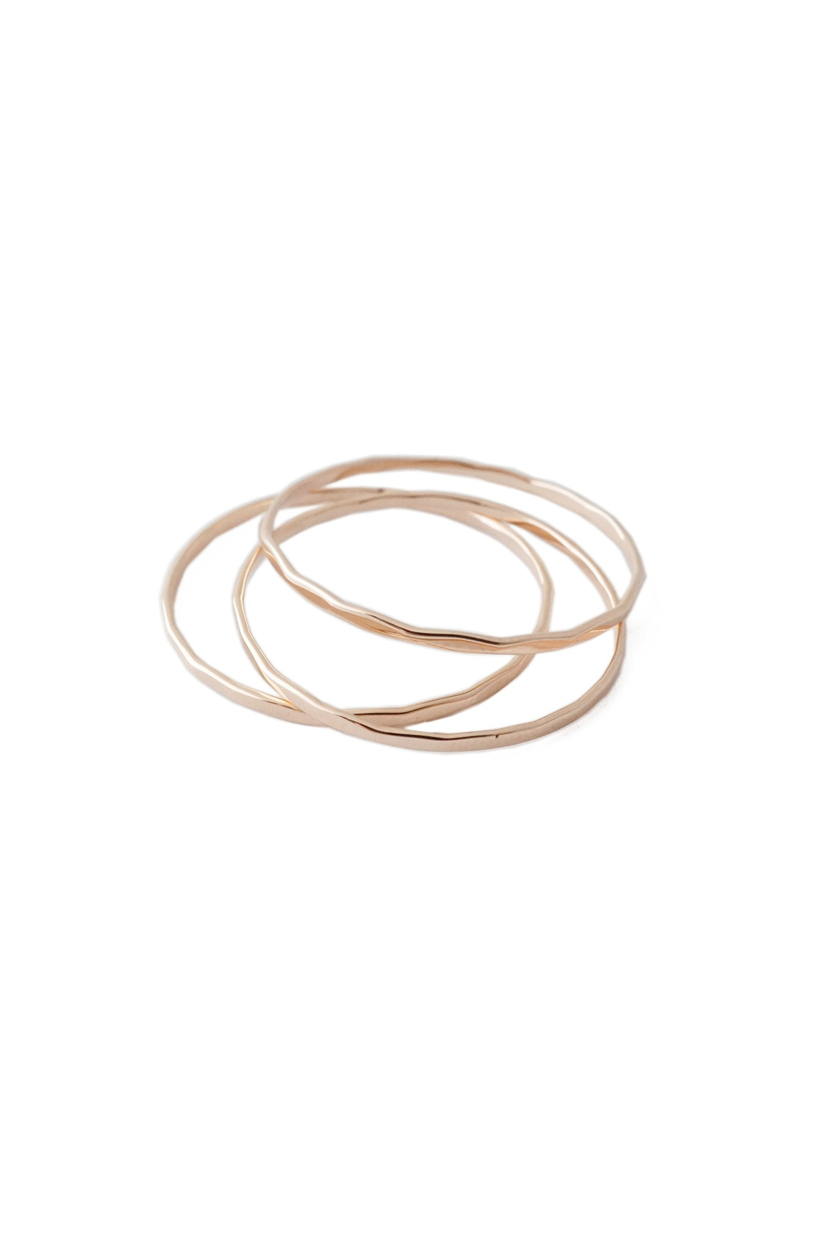 HONEYCAT Super Skinny Hammered Stacking Rings Trio Set | Minimalist, Delicate Jewelry