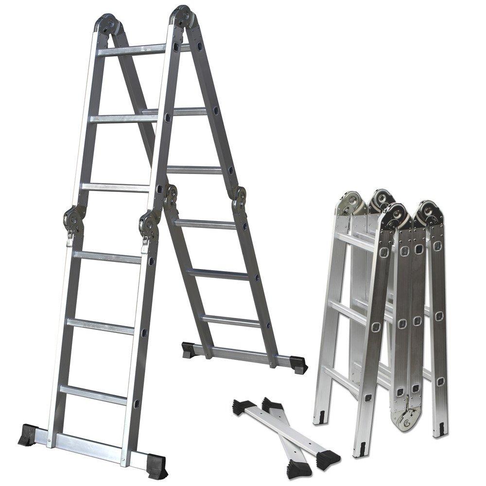 Ladder, Multi-fold Multi-use Aluminum, 12.5 ft. with 350 lb. Load Capacity