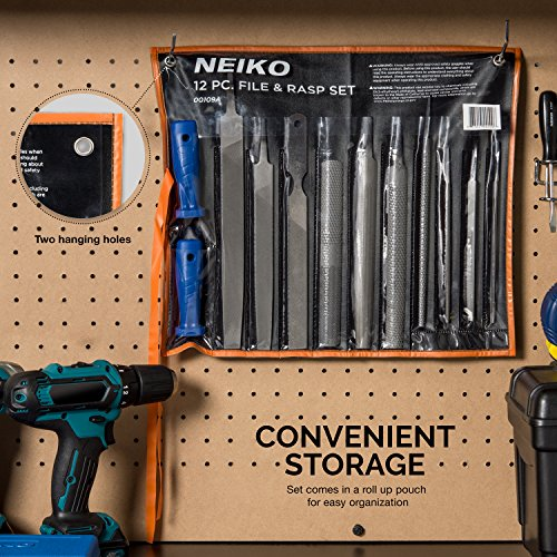 Neiko 00109A Heavy Duty File and Rasp Set, 12 Piece   PVC Handle by Neiko (Image #4)