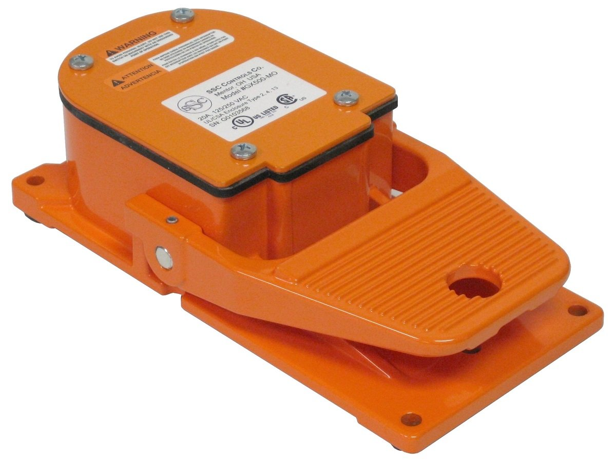 SSC Controls GX500-MO Foot Switch, No Guard / Shield, Electrical, Momentary Action, Heavy Duty, Single Pedal, Industrial, SPDT