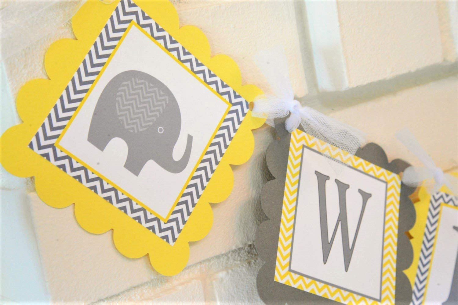 Yellow and Gray Welcome Baby Elephant Baby Shower Banner, Customizable  Welcome Baby Elephant theme Banner in Yellow and Grey, Elephant Baby Shower  ...
