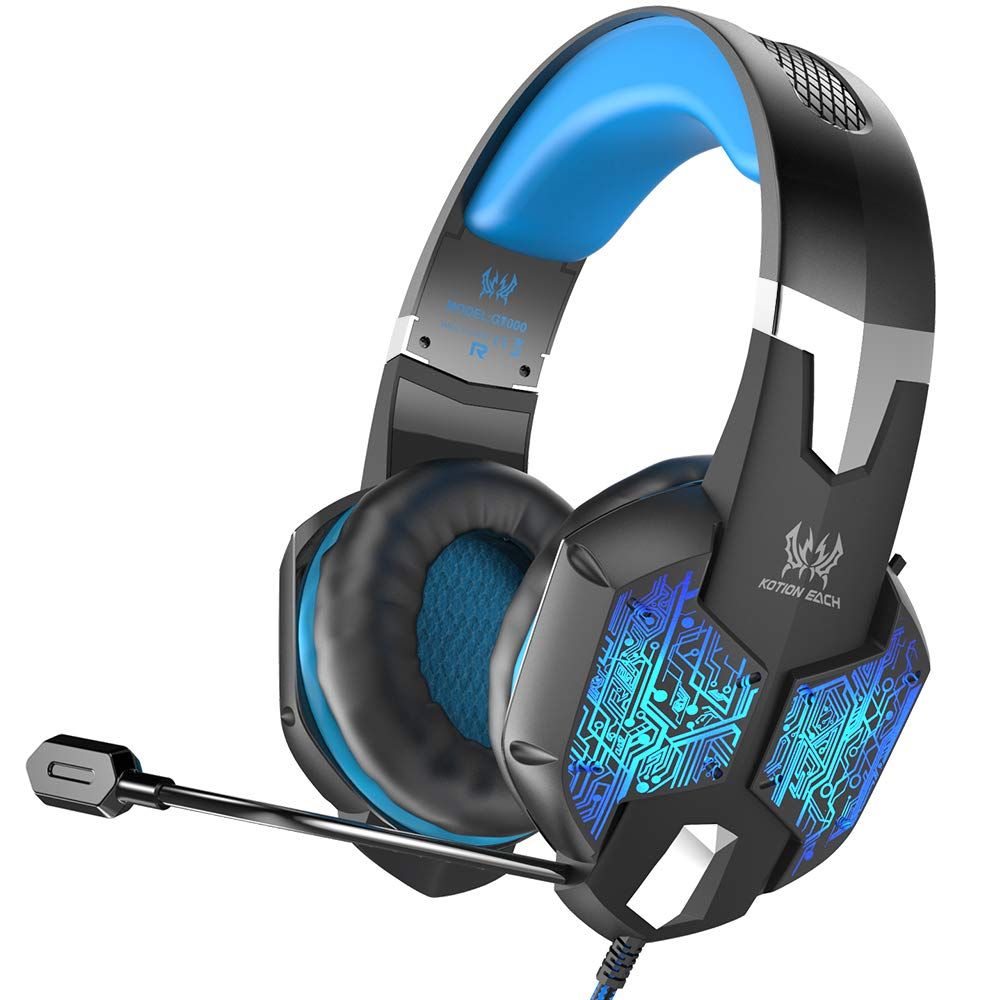 VersionTECH. PC Gaming Headset, Wired Surround Stereo Gaming Headphones with Flexible Mic, Multi-color LED Backlit for Mac, Desktop Computer Games (Incompatible with PS4 PS3 Xbox One Xbox 360) - Blue
