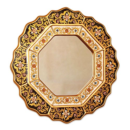 NOVICA Black and Gold Floral Reverse Painted Glass Wall Mounted Mirror, Black (Floral Painted Glass)
