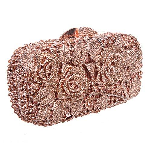Ab Handbag Gold Floral Bonjanvye Silver Crystal Rhinestone Glitter Rose Clutch Purse Girls For z55R8q7A