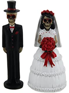 Day Of The Dead Skeleton Wedding Couple Decorative Figurine 5 Tall