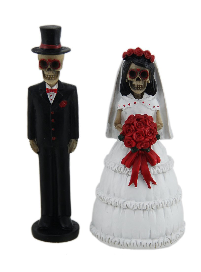 Day of the Dead Skeleton Wedding Couple Decorative Figurine 5'' Tall | Bride and Groom Mini Statue Wedding Cake Topper